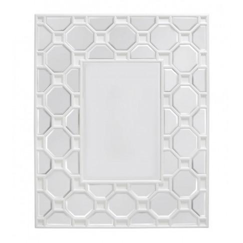 Rita White Geometric Wood Wall Mirror