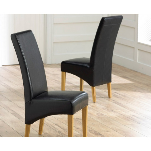 Roma Black Leather Dining Chair With Solid Oak Legs
