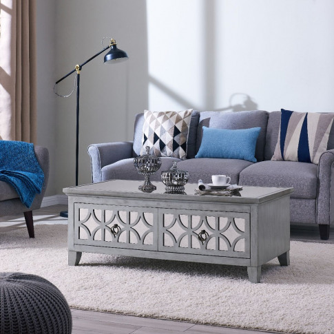 Russell Silver Wooden 2 Drawer Coffee Table