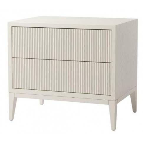 Rv Astley Amur White Wooden 2 Drawer Wide Bedside Table