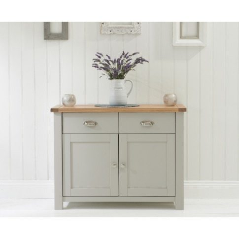 Sandringham Oak And Painted Grey 2 Door 2 Drawer Sid...