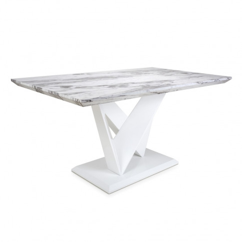 Saturn Medium Marble Effect Top High Gloss Grey/White Dining Table