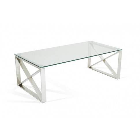 Serene Astra Glass Top Stainless Steel Coffee Table