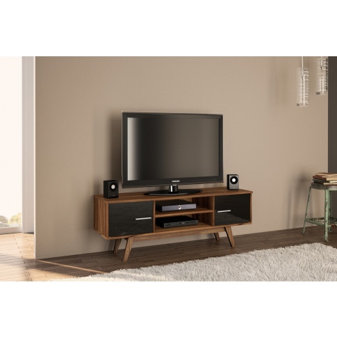 Shard Walnut And Black Wooden Tv Unit