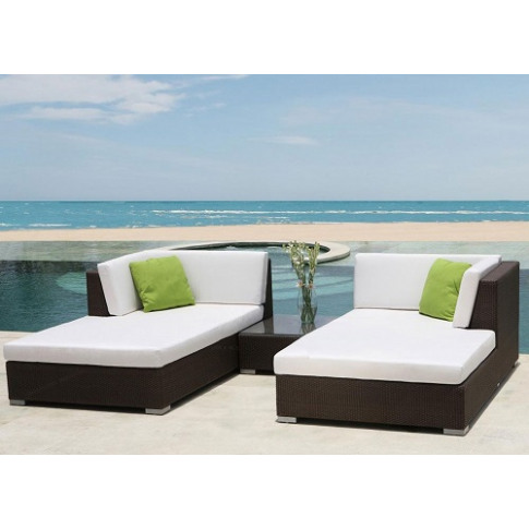 Skyline Pacific Chaise Lounge Rattan Set With Side T...