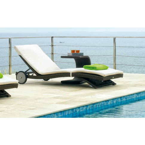 Skyline Sophie Rattan Sun Lounger With Side Table