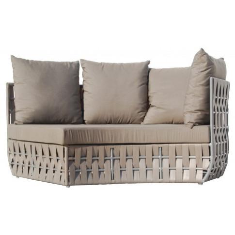 Skyline Strips Silver Walnut Rattan Left Curve Sofa