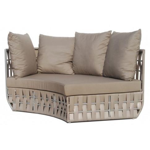 Skyline Strips Silver Walnut Rattan Right Curve Sofa