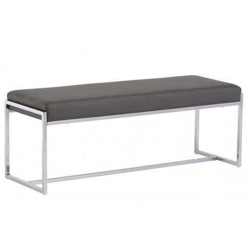 Soho Grey Leather Large Dining Bench