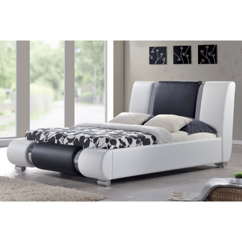 Sacramento 5ft King Size White And Black Leather Bed