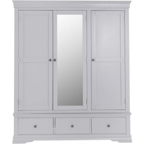Steward Grey Wooden 3 Door Wardrobe
