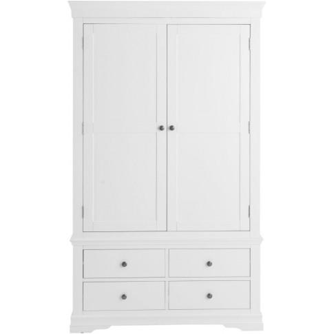 Steward White Wooden 2 Door 4 Drawer Wardrobe