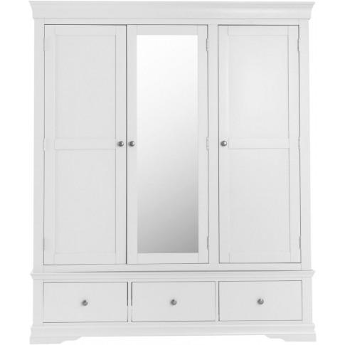 Steward White Wooden 3 Door Wardrobe