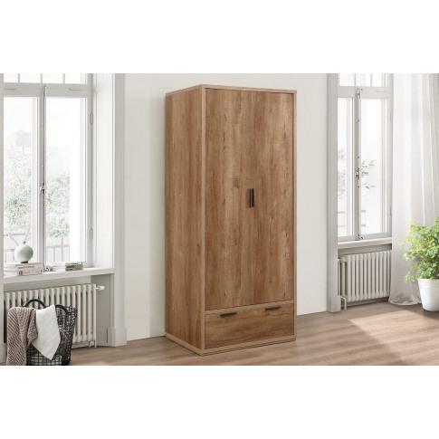 Stockwell Rustic Oak 2 Door 1 Drawer Wardrobe