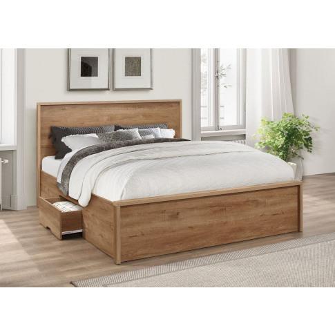 Stockwell Rustic Oak 5ft Kingsize Bed