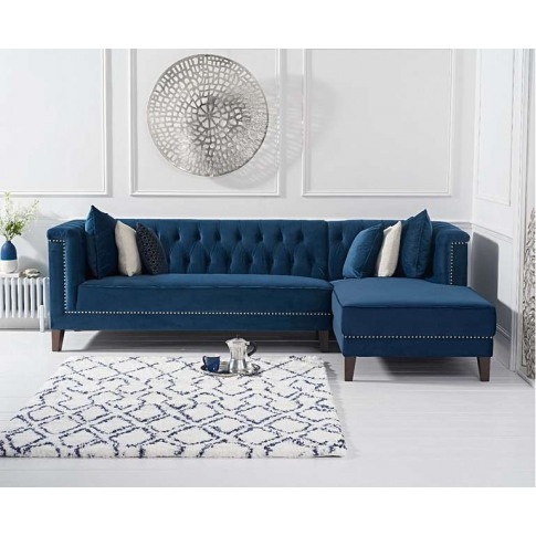 Tino Blue Velvet Right Facing Chaise Sofa