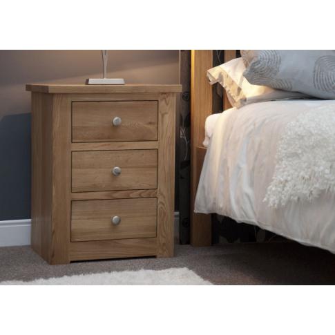 Torino Oak 3 Drawer Narrow Bedside Cabinet