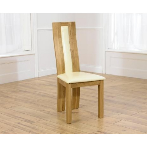 Havana Solid Oak Dining Chair With Bycast Cream Leat...