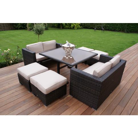 Maze 8 Seat Rattan Cube Sofa Set - Brown