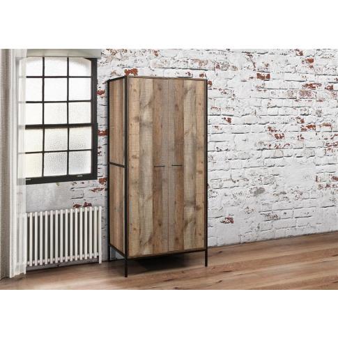 Urban Rustic Wooden 2 Door Wardrobe