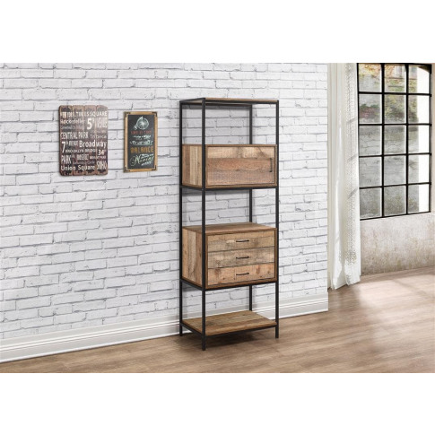 Urban Rustic Wooden 3 Drawer Shelving Unit