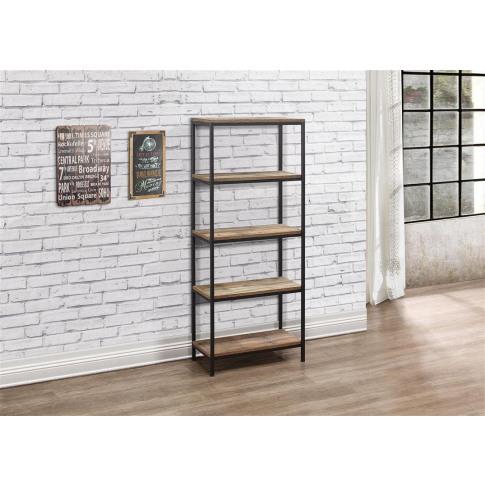 Urban Rustic Wooden 5 Tier Bookcase