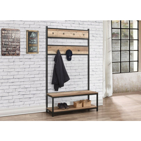 Urban Rustic Wooden Coat Rack And Bench
