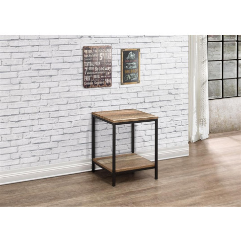 Urban Rustic Wooden Lamp Table