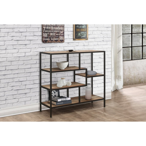 Urban Rustic Wooden Wide Shelving Unit