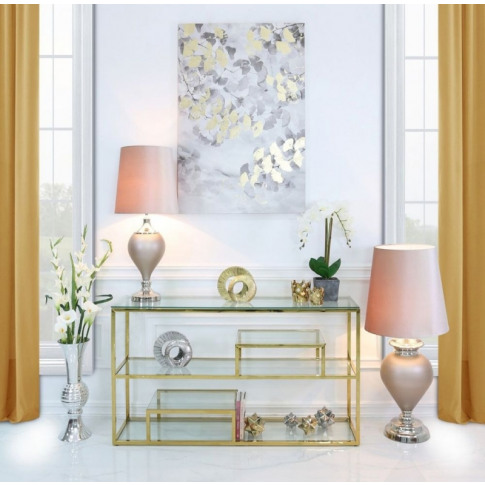 Value Harry Gold Steel And Glass Tiered Console Table