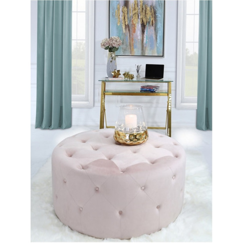 Value Pink Velvet Round Stool With Buttons