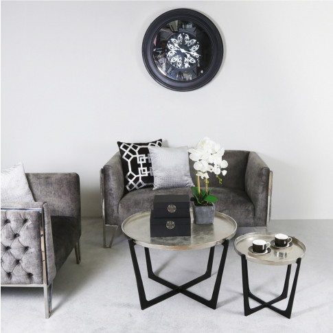 Value Rohan Black And Nickel Nesting Tables Set Of 2