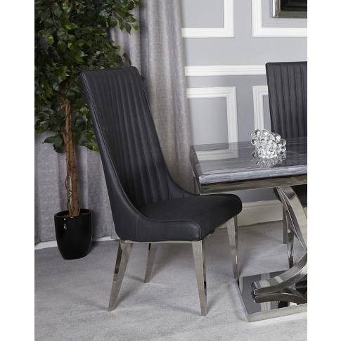 Venus Dark Grey And Chrome Dining Chair