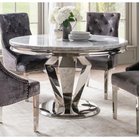 Arturo 130cm Round Grey Marble Dining Table