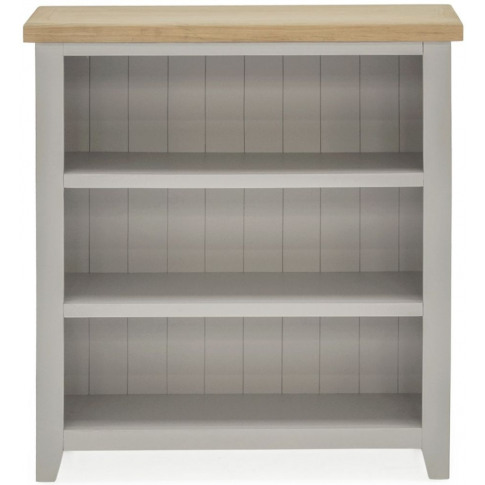 Ferndale Grey Painted With Oak Wooden Low Bookcase
