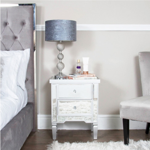 Vito Silver Wooden 2 Drawer Bedside Cabinet
