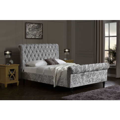 Chesterfield Silver Fabric 4ft6 Double Bed