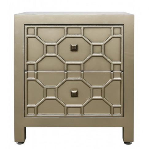 Rita Gold Geometric 2 Drawer Wooden Cabinet