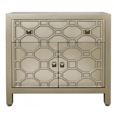 Rita Gold Geometric 1 Drawer 2 Door Wooden Cabinet