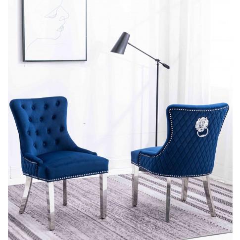 Windsor Blue French Velvet Lion Knocker Dining Chair...