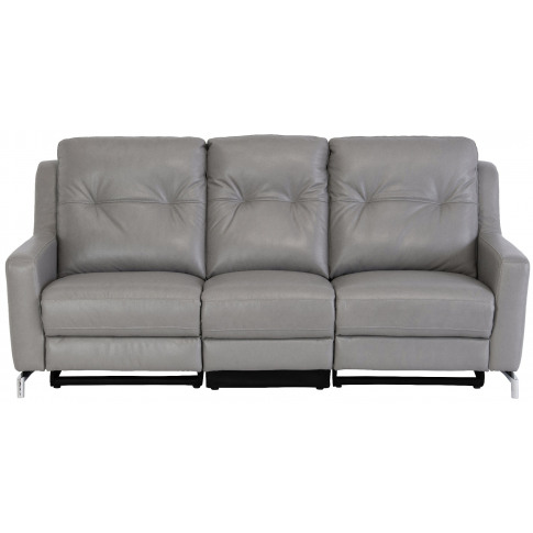Windsor Grey Leather Electric 3 Seater Recliner Sofa
