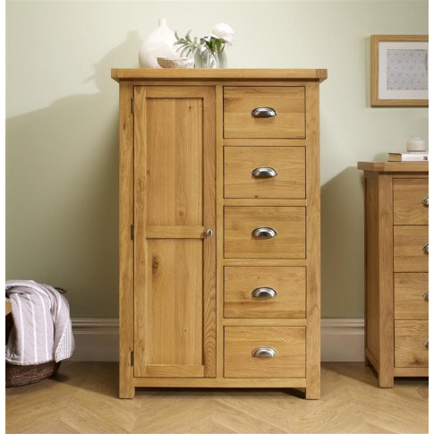 Woburn Oak 1 Door 5 Drawer Wardrobe