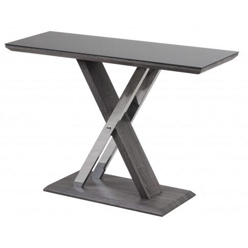 Fairmont Xavi Black Glass And Walnut Console Table