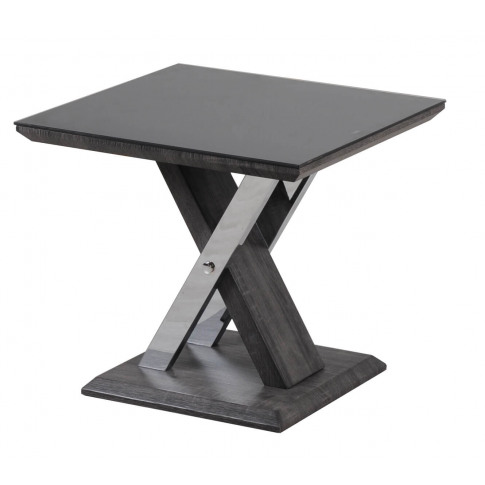 Fairmont Xavi Black Glass And Walnut Side Table
