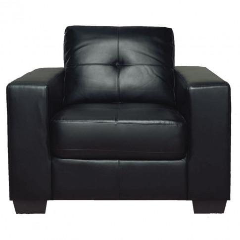 Gemona Black Leather 1 Seater Armchair