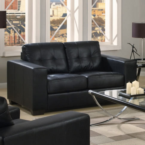 Gemona Black Leather 2 Seater Sofa