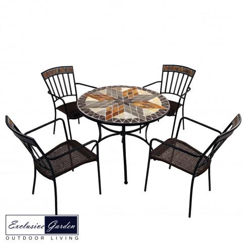 Europa Arlington 91cm Stone Patio Table With 4 Kings...