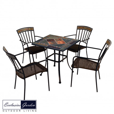 Europa 71cm Clandon Stone Patio Table With 4 Kingswo...