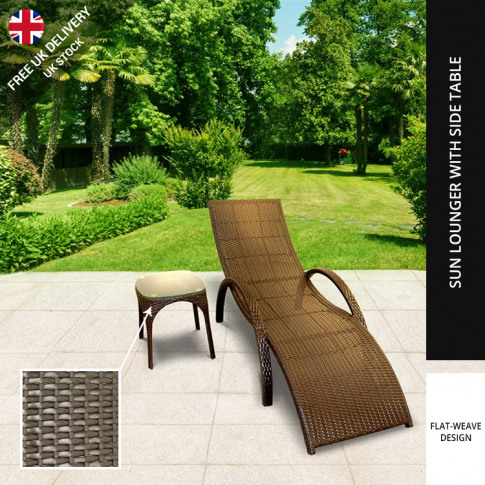 Billyoh Rosario Single Sun Lounger - Rattan Lounger Chair In Brown With Side Table - 6 X Lounger With 6 X Table