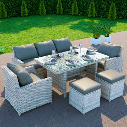 Billyoh Minerva Rattan Outdoor Garden 7 Seater Dinin...
